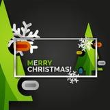 Bannière d'arbre de Noël de nouvelle année, fond noir Photographie stock libre de droits