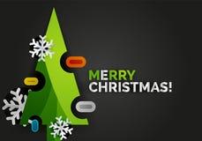 Bannière d'arbre de Noël de nouvelle année, fond noir Image libre de droits