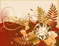 Bannière d'automne avec la pierre gemme précieuse Photo stock