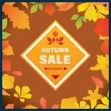 Bannière d'Autumn Super Sale avec des feuilles Photos stock