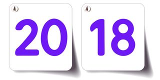 bannière 2018 3d blanche avec des nombres illustration stock