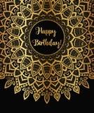 Bannière d'or de mandala de zentangle de vecteur Souhait, félicitations, carte postale Calibre pour imprimer, web design, affiche illustration de vecteur