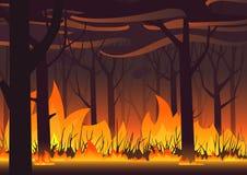 Bannière d'eco de région boisée Le feu dans l'illustration de vecteur de paysage du feu de forêt de forêt illustration stock