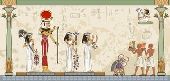 Bannière d'Egypte antique Hiéroglyphe et symbole égyptiens Image stock
