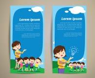 Bannière d'enfants de professeur d'éducation Images libres de droits