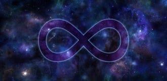 Bannière d'espace lointain de symbole d'infini illustration stock