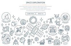 Bannière 2 d'exploration d'espace illustration de vecteur