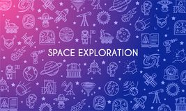 Bannière d'exploration d'espace illustration stock