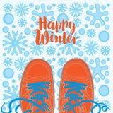 Bannière d'hiver avec des chaussures sur le fond neigeux illustration stock