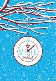 Bannière d'hiver avec les branches couvertes de neige de l'arbre illustration de vecteur