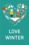 Bannière d'hiver d'amour Illustration plate de conception Photographie stock
