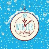 Bannière d'hiver de vecteur avec l'horloge et les flocons de neige illustration de vecteur