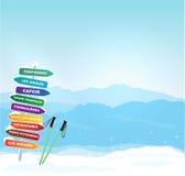 Bannière d'hiver de vecteur avec la silhouette de Canigou Photographie stock libre de droits