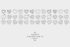 Bannière d'icônes de coeurs Carte heureuse de jour de valentines dans le style de griffonnage Photographie stock