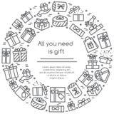 Bannière d'illustration de vecteur avec les pictogrammes enveloppés de boîte-cadeau avec la course editable rassemblée sous la fo image libre de droits