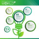Bannière d'Infographics d'écologie d'énergie de vert de protection de l'environnement du monde avec l'espace de copie illustration libre de droits