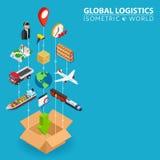 Bannière 3d intégrée logistique Concept isométrique de progrès de réseau de Digital Ligne reliée système de conception graphique  Images libres de droits