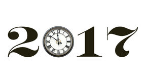 bannière 2017 d'isolement, utilisant l'horloge pour zéro Image libre de droits