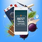 Bannière d'offre de voyage Illustration avec l'écran du smartphone et les attributs des vacances Avion, passeport et billets Photographie stock libre de droits