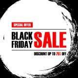 Bannière d'offre spéciale de Black Friday avec le fond de course de brosse pour le commerce, les affaires, la promotion et la pub Photographie stock