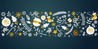 Bannière d'or d'ornement de Noël sur Teal Background foncé illustration stock