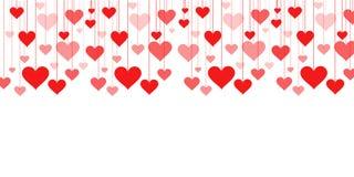 Bannière d'une guirlande de Saint-Valentin de fond de coeurs, épousant Images libres de droits