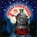 Bannière d'une illustration de Santa Claus sur une locomotive à vapeur avec le Joyeux Noël de félicitation illustration stock