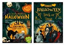 Bannière de accueil de partie d'horreur de vacances de Halloween illustration stock