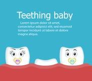 Bannière de bébé de dentition avec des dents illustration stock