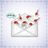 Bannière de bande dessinée de Noël - enveloppe avec des autocollants de Noël illustration de vecteur