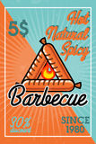 Bannière de barbecue de vintage de couleur Photographie stock libre de droits