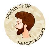 Bannière de Barber Shop, de coupes de cheveux et de rasages Photos libres de droits