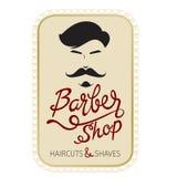 Bannière de Barber Shop, de coupes de cheveux et de rasages avec le lettrage Images stock