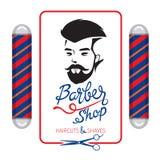 Bannière de Barber Shop, de coupes de cheveux et de rasages avec le lettrage Photos libres de droits