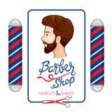 Bannière de Barber Shop, de coupes de cheveux et de rasages avec le lettrage Images libres de droits