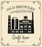 Bannière de bière avec le bâtiment de brasserie dans le rétro style Image stock