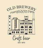 Bannière de bière avec le bâtiment de brasserie dans le rétro style Photo stock