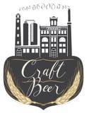 Bannière de bière avec le bâtiment de brasserie dans le rétro style Photographie stock libre de droits