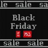 Bannière de Black Friday sur la texture tricotée Illustration de vecteur Photographie stock