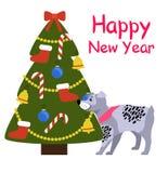 Bannière de bonne année avec Grey Dog près d'arbre de Noël Photos libres de droits