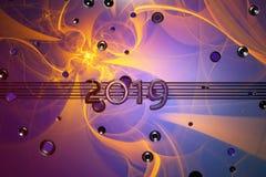 Bannière de bonne année avec 2019 nombres faits par le métal couvert par aerography au-dessus du fond coloré de mur plein du rond illustration libre de droits