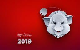 Bannière de bonne année, le porc dans le chapeau de Santa, 2019 symbole animal, texte de félicitation Fond rouge de célébration p illustration de vecteur