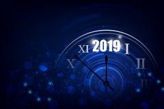 Bannière de 2019 bonnes années avec l'horloge ronde Illustration de vecteur illustration stock