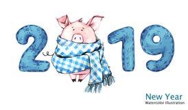 Bannière de 2019 bonnes années Porc mignon dans l'écharpe d'hiver avec des nombres Illustration d'aquarelle Symbole des vacances  illustration de vecteur