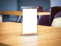 Bannière de bureau sur la table en bois rendu 3d Photographie stock