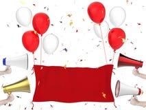 Bannière de célébration avec la main tenant des mégaphones Images stock