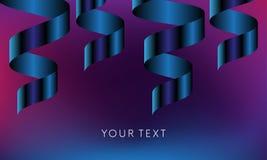 Bannière de célébration avec le ruban bleu de couleur de gradient sur le fond pourpre foncé avec votre texte Vecteur illustration stock
