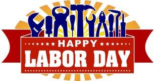 Bannière de célébration colorée de Fête du travail heureuse avec des rayons des sunburs illustration libre de droits