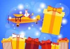 Bannière de célébration de carte de voeux de bonne année de boîte de présent de Santa Clause Flying Airplane Carrying Images libres de droits