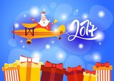 Bannière de célébration de carte de voeux de décoration de nouvelle année de Santa Clause Flying Airplane Happy Image libre de droits